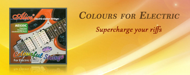 Colourful Electric Guitar Strings by Alice